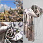 Копринен шал Палермо с лилави цветя