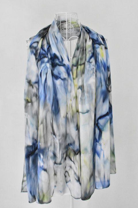 Копринен шал Синьо цвете1