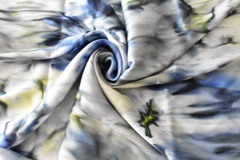 Копринен шал Синьо цвете