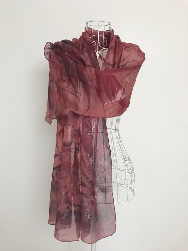 Елегантен Копринен шал Ябълков цвят