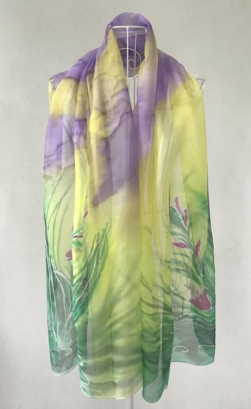 Копринен шал Гладиоли в Пурпур