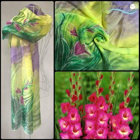 Копринен шал розови Гладиоли